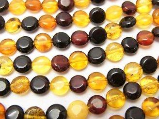天然石卸 バルティックアンバー(琥珀) マルチカラー コイン6×6×3 半連/1連(約38cm)