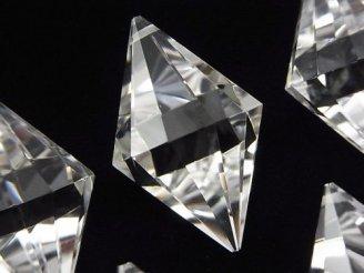 天然石卸 素晴らしい輝き!天然クリスタルAAA〜AAA- 穴あきダイヤカット33×18 1個1,580円!
