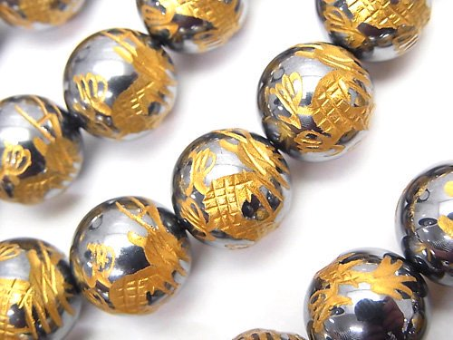 金色!【青龍・四神獣】の彫刻入り!高純度テラヘルツ鉱石 ラウンド12mm 1/4連〜1連(約38cm)