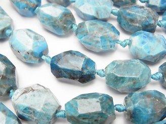 天然石卸 ブルーアパタイトAA+ 大粒タンブルカット 半連/1連(約36cm)