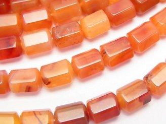 天然石卸 ミックスカーネリアンAAA チューブカット10×8×8 半連/1連(約38cm)