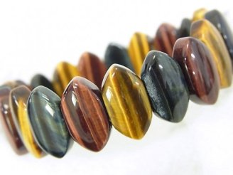 天然石卸 1連980円!タイガーアイAA++ 3色ミックス 2つ穴マーキス16×9×5mm 1連(ブレス)