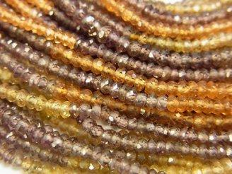 天然石卸 素晴らしい輝き!マルチカラーガーネットAAA ボタンカット 半連/1連(約30cm)