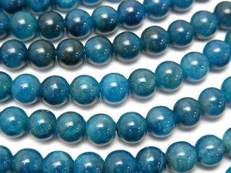 天然石卸 ブラジル産ブルーアパタイトAA++ ラウンド6mm 半連/1連(約37cm)