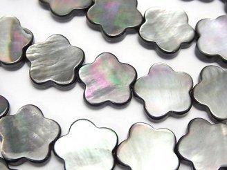 天然石卸 ブラックシェルAAA フラワーモチーフ14×14×3 半連/1連(約37cm)