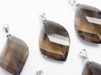 天然石卸 宝石質スモーキークォーツAAA  多面カット入りペンダントトップ 【S】【M】 SV925製
