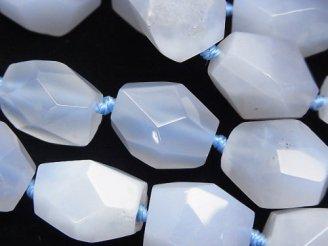 天然石卸 天然色ブルーカルセドニーAA++ タンブルカット 半連/1連(約37cm)