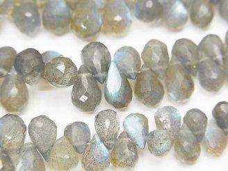 天然石卸 宝石質ラブラドライトAAA- ドロップ ブリオレットカット サイズグラデーション 半連/1連(約18cm)