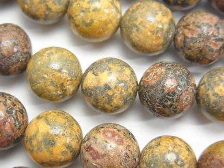 天然石卸 レオパードスキン ジャスパー ラウンド12mm 半連/1連(約37cm)