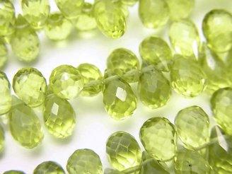 天然石卸 宝石質ペリドットAAA ドロップ ブリオレットカット 半連/連(約18cm)