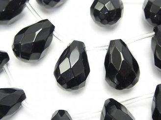 天然石卸 オニキス ドロップ ブリオレットカット18×12×12mm 半連/1連(約32cm)