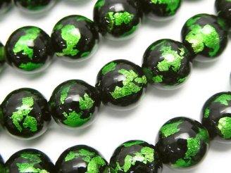 天然石卸 とんぼ玉 ラウンド10mm 【グリーン】 1/4連〜1連(約34cm)