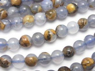 天然石卸 ブルーカルセドニーAA 母岩付ラウンド6mm 半連/1連(約38cm)