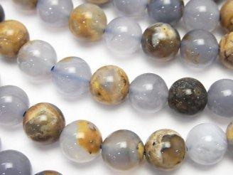 天然石卸 ブルーカルセドニーAA 母岩付ラウンド8mm 半連/1連(約38cm)