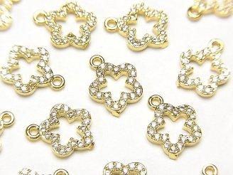 天然石卸 メタルパーツ CZ付きチャーム フラワー10×8 ゴールドカラー 3個380円!