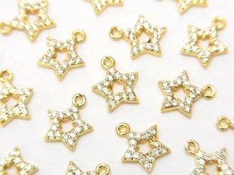 天然石卸 メタルパーツ CZ付きチャーム スター10×8 ゴールドカラー 3個380円!