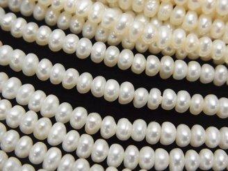 天然石卸 1連780円!淡水真珠AA+ ホワイト ロンデル4×4×2 1連(約35cm)