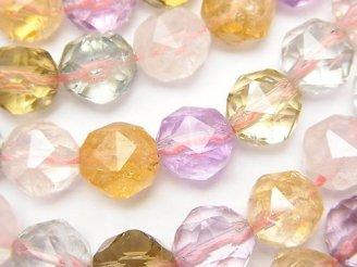 天然石卸 宝石質いろんな天然石AAA スターラウンドカット10mm 1/4連〜1連(約38cm)