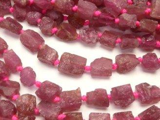 天然石卸 ピンクトルマリンAA+ ラフロックタンブル 半連/1連(約38cm)