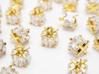 天然石卸 メタルパーツ CZ付きチャーム キューブ7×7×7 ゴールドカラー 2個280円!