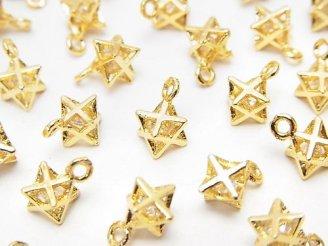 天然石卸 メタルパーツ CZ付きチャーム マカバ9×6×6mm ゴールドカラー 3個380円!
