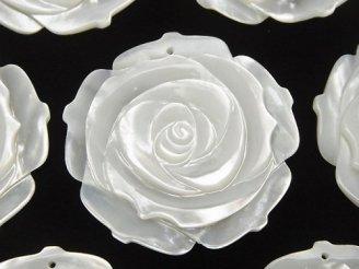 天然石卸 高品質ホワイトシェル(白蝶貝)AAA 薔薇 40mm 1枚580円〜!