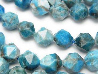 天然石卸 ブルーアパタイトAA+ 24面ラウンドカット10mm 半連/1連(約36cm)