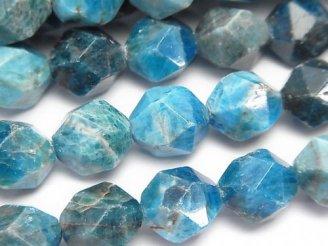 天然石卸 ブルーアパタイトAA+ 24面ラウンドカット12mm 半連/1連(約37cm)