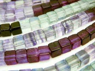 天然石卸 1連1,380円!フローライトAAA〜AAA- キューブ4×4×4mm カラーグラデーション 1連(約38cm)