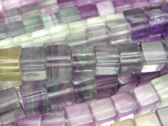 天然石卸 1連1,580円!フローライトAAA- キューブ6×6×6mm カラーグラデーション 1連(約38cm)