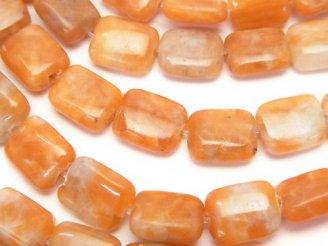 天然石卸 1連880円!オレンジカルサイト レクタングル10×8×4 1連(約38cm)