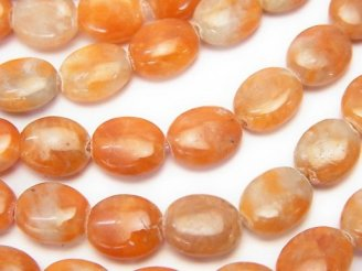 天然石卸 1連880円!オレンジカルサイト オーバル10×8×4 1連(約38cm)