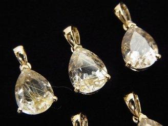 天然石卸 宝石質ルチルクォーツAAA ペアシェイプファセットカット ペンダントトップ10×7×5 18KGP製
