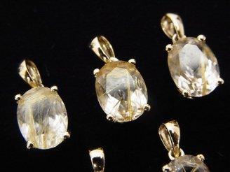 天然石卸 宝石質ルチルクォーツAAA オーバルファセットカット ペンダントトップ9×7×6 18KGP製