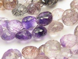 天然石卸 宝石質エレスチャルクォーツAAA オニオン ブリオレット 半連/1連(約23cm)