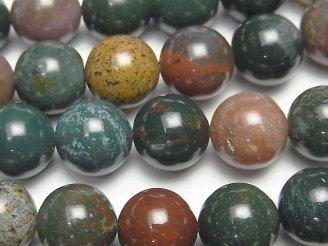 天然石卸 ブラッドストーン ラウンド12mm 半連/1連(約38cm)