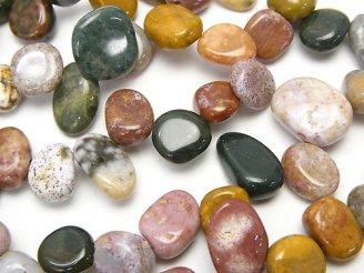 天然石卸 1連580円!オーシャンジャスパー フラット タンブル クレオ穴 1連(約35cm)