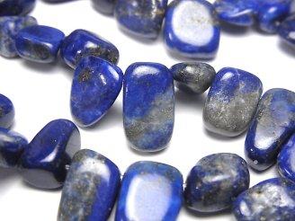 天然石卸 1連780円!ラピスラズリAA フラット タンブル クレオ穴 1連(約36cm)