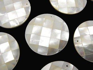 天然石卸 モザイクシェル コイン35×35×7mm ホワイト 1個380円!