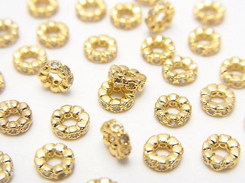 メタルパーツ ロンデル4×4×1.5mm(CZ付) ゴールドカラー 5個