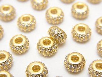 天然石卸 メタルパーツ ロンデル6×6×3.5(CZ付) ゴールドカラー 1個220円!