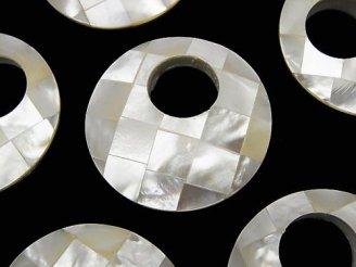 天然石卸 モザイクシェル コイン(ドーナツ)35mm ホワイト 1個380円!