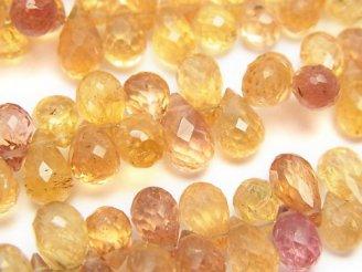 天然石卸 宝石質インペリアルトパーズAAA ドロップ ブリオレットカット 1/4連〜1連(約18cm)