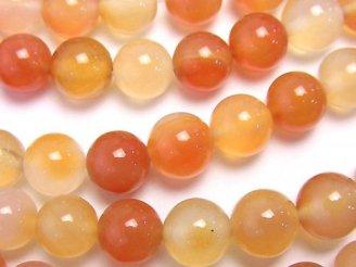 天然石卸 1連580円!オレンジカラーカルセドニー ラウンド8mm 1連(約37cm)