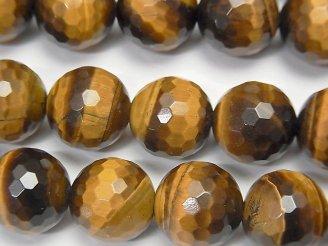 天然石卸 イエロータイガーアイAA++ 128面ラウンドカット12mm 半連/1連(約36cm)