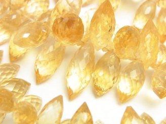 天然石卸 宝石質シトリンAAA マーキスライス ブリオレットカット 半連/1連(約16cm)