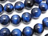 天然石卸 ブルーカラータイガーアイAA++ ラウンド10mm 半連/1連(約37cm)