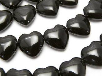 天然石卸 オニキス 横穴ハート12×12×6 半連/1連(約36cm)