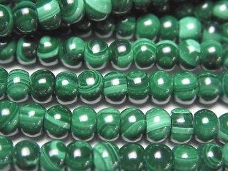 天然石卸 マラカイトAAA ロンデル(ボタン)6×6×3mm 半連/1連(約38cm)