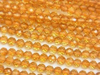 天然石卸 素晴らしい輝き!宝石質シトリンAAA 極小ラウンドカット3mm 半連/1連(約31cm)